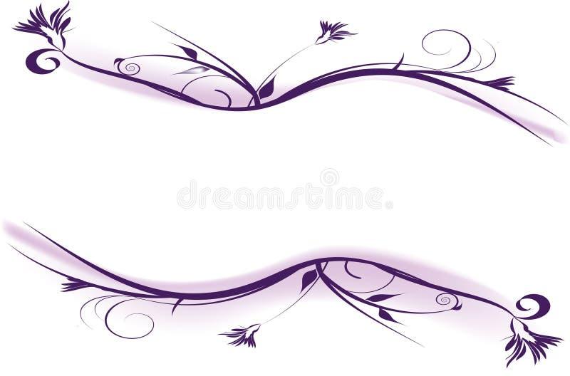 den dekorativa designen blommar purple stock illustrationer
