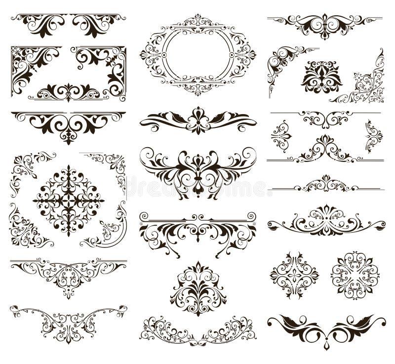 Den dekorativa designen sn?r ?t gr?nser, och h?rnvektorn st?llde in best?ndsdelar f?r blom- prydnader f?r art d?co royaltyfri illustrationer