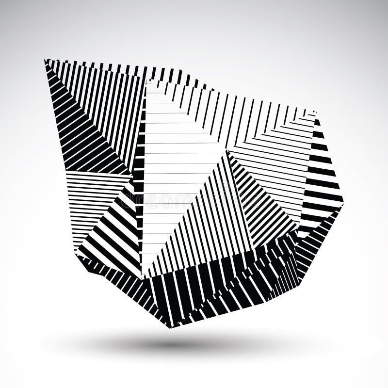 Den dekorativa förvridna beståndsdelen eps8 med parallellsvart fodrar Mul vektor illustrationer