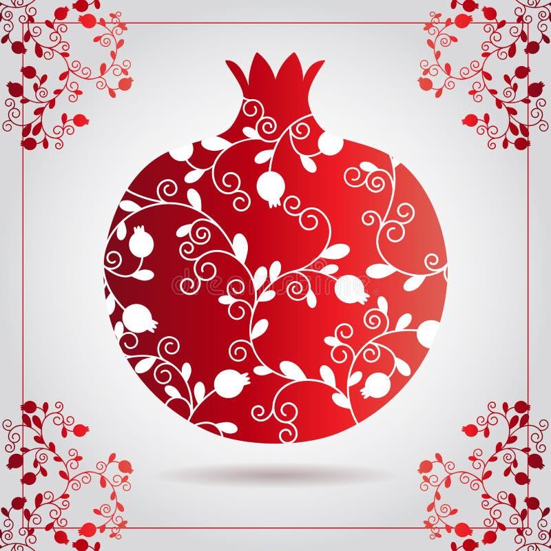Den dekorativa dekorativa granatäpplet som göras av virvel, klottrar för det Rosh Hashanah hälsningkortet, judiskt nytt år Rosh h vektor illustrationer