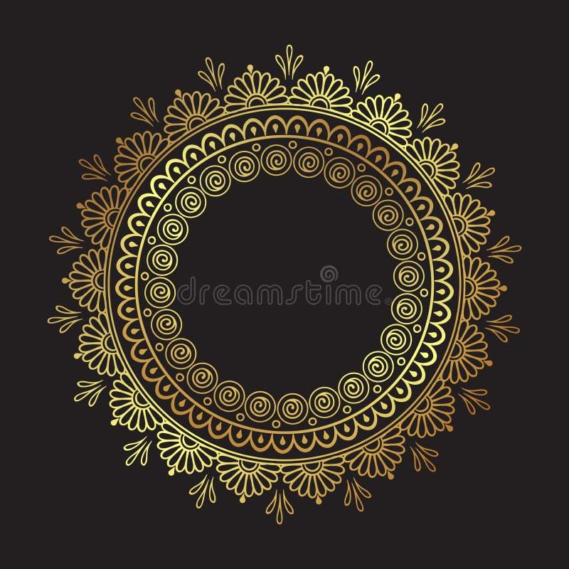 Den dekorativa indierrundan snör åt den utsmyckade guld- mandalaen som isoleras över svart illustration för vektor för design för stock illustrationer