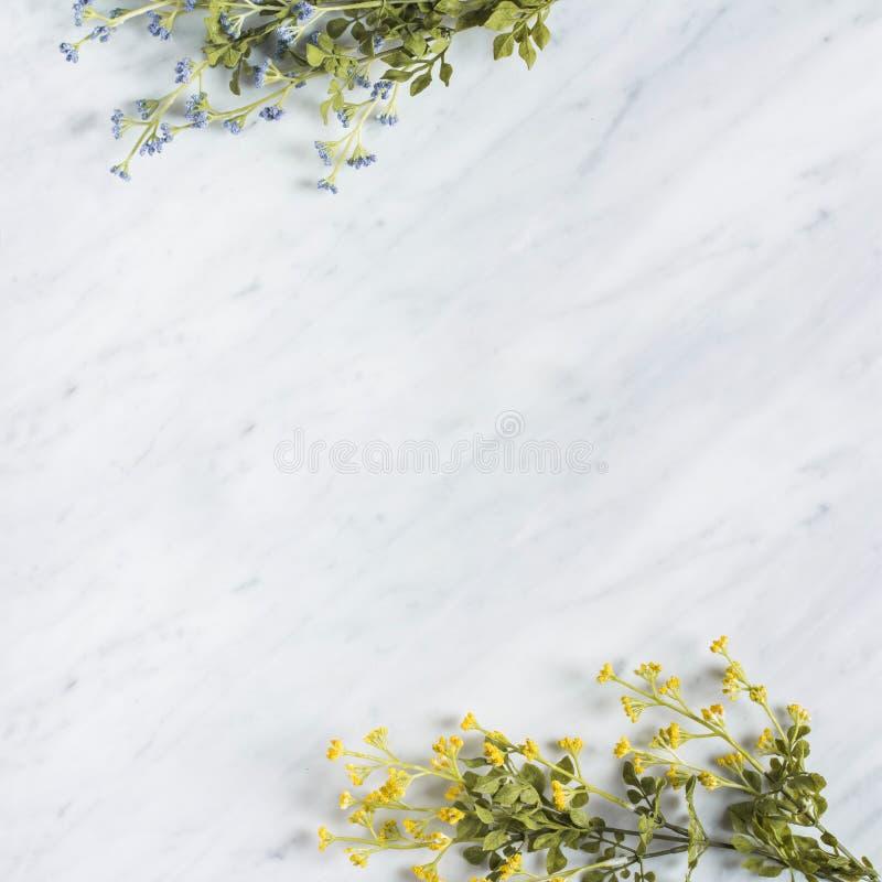 Den dekorativa lösa blomman förgrena sig på marmorworktop arkivbilder