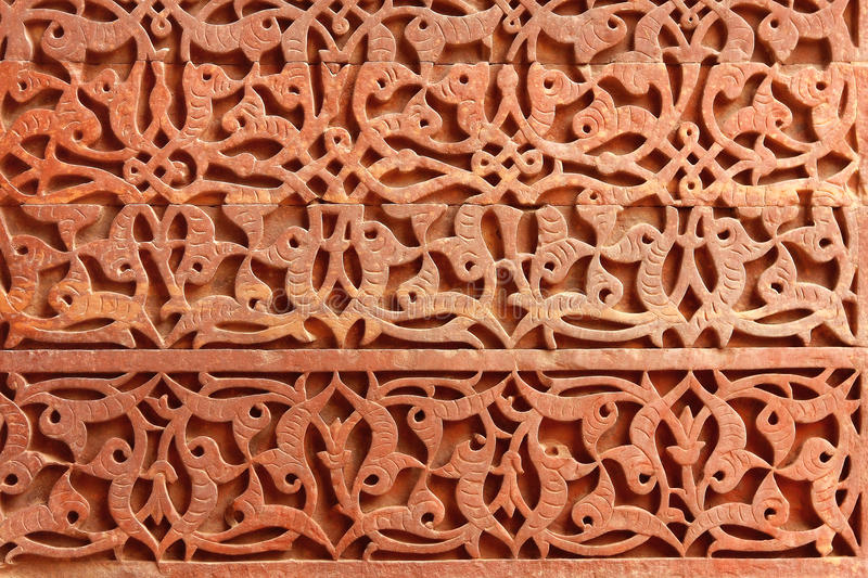 Den dekorativa modellen - stena att snida i Qutub Minar royaltyfri fotografi