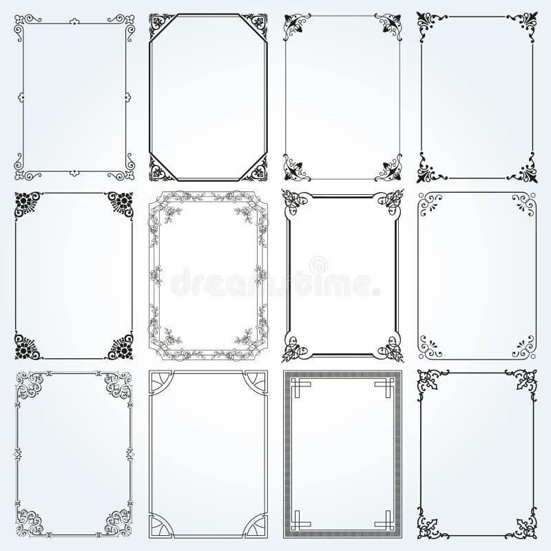 Den dekorativa rektangeln inramar, och gränser ställer in vektor 2 stock illustrationer