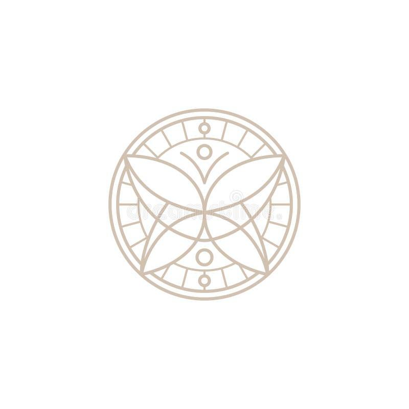 Den dekorativa runda cirkeln inramar fjärilssymboler stock illustrationer