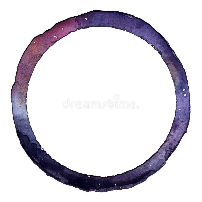 Den dekorativa runda ramen av galaxen hand-målade vattenfärgillustrationen royaltyfri illustrationer