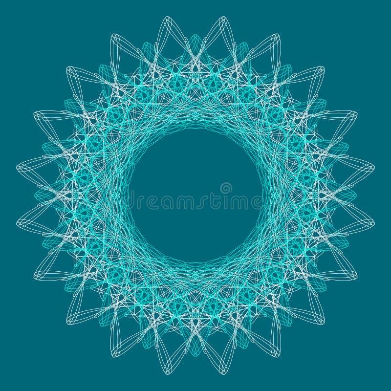 Den dekorativa rundan snör åt modellbakgrund för certifikatet, anmärkningen, biljetten, belöning, diplomet, kupongdesign royaltyfri illustrationer