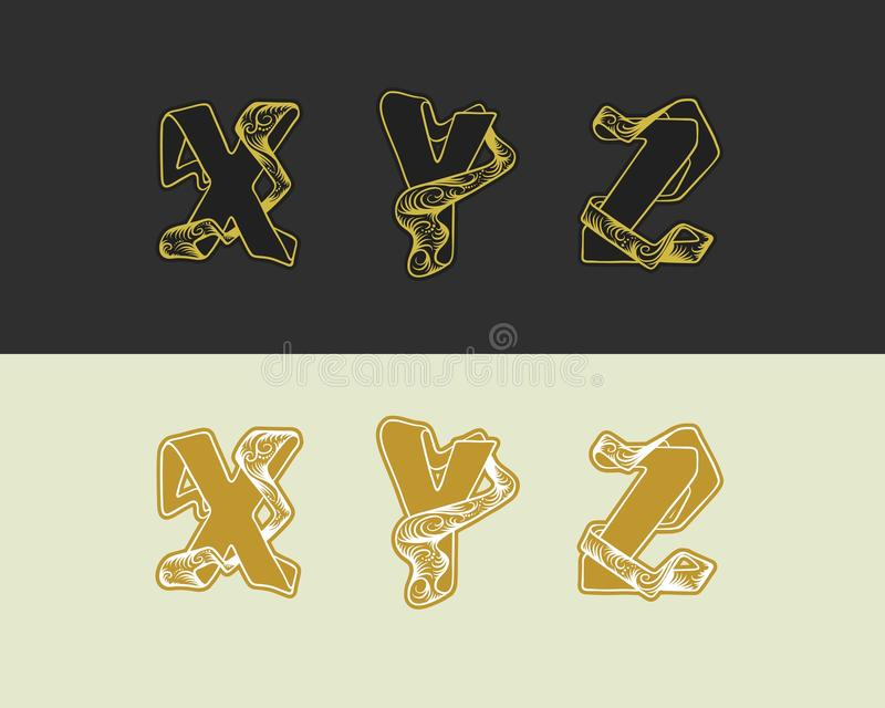 Den dekorativa vektorn skissar alfabetuppsättningen av uppercase bokstäver Guld- elegant bokstav X, Y, Z Stilsort av att gripa in stock illustrationer