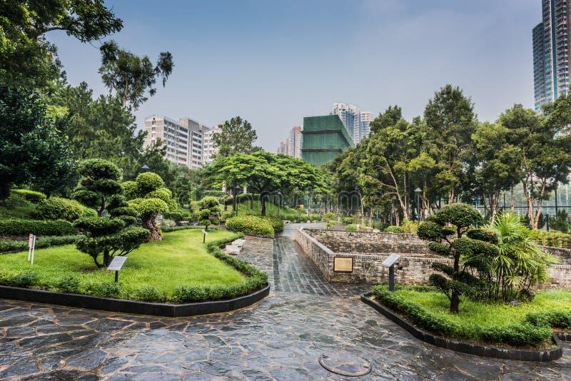 Den dekorativa Walled staden för trädgården Kowloon parkerar Hong Kong arkivbilder