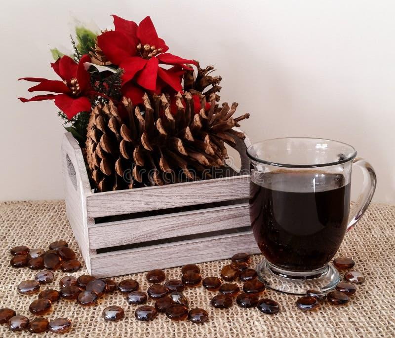 Den dekorativa wood asken med sörjer kottar, och julstjärnan med rånar av svart kaffe royaltyfri bild