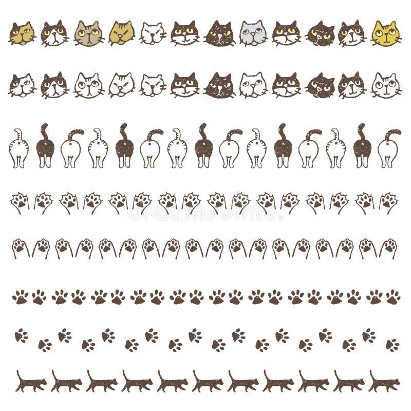 Den dekorerade gränslinjen med olika katter, tafsar och bakdelar vektor illustrationer