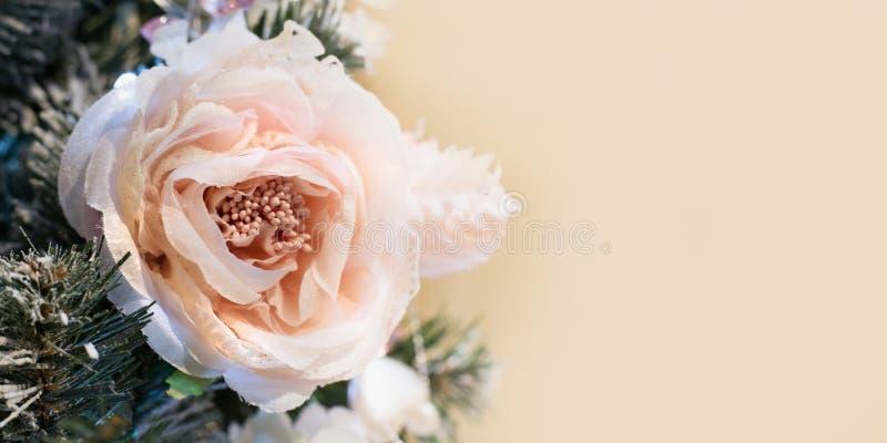Den dekorerade julgranen blommar med kopieringsutrymme på suddig bokehbakgrund i inre close upp xmas royaltyfria bilder