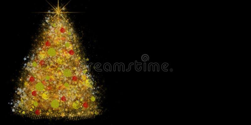 Den dekorerade julgranen som göras av skinande stjärnor och, mousserar arkivfoton