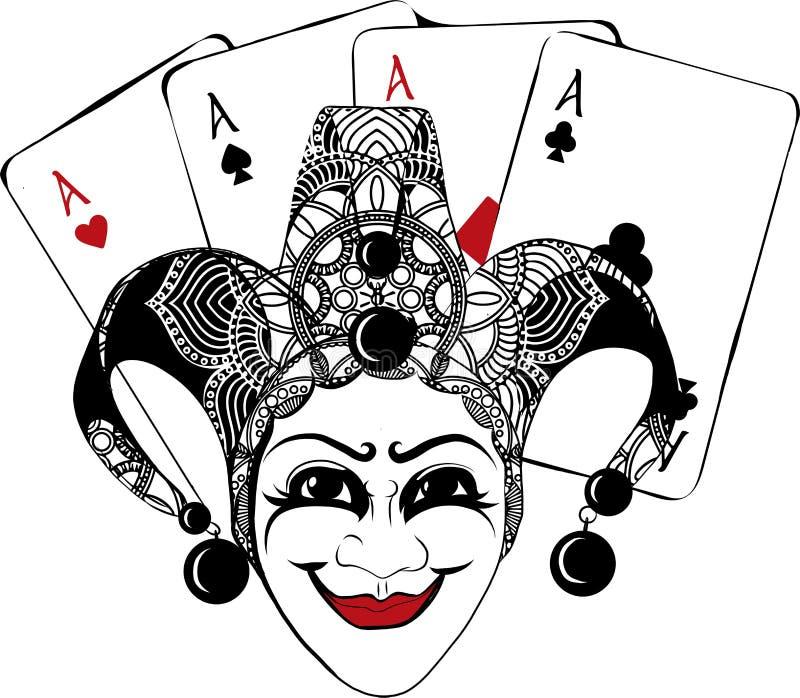 Den dekorerade Venetian karnevalet, gyckelmakaremaskeringen med klockor och guld- blänker, skissar stilvektorillustrationen vektor illustrationer