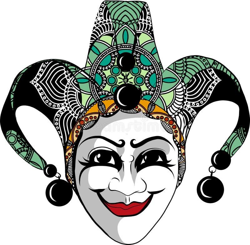 Den dekorerade Venetian karnevalet, gyckelmakaremaskeringen med klockor och guld- blänker, skissar stilvektorillustrationen royaltyfri illustrationer