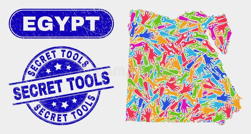 Den del- Egypten översikten och skrapade hemliga hjälpmedel stämplar skyddsremsor stock illustrationer