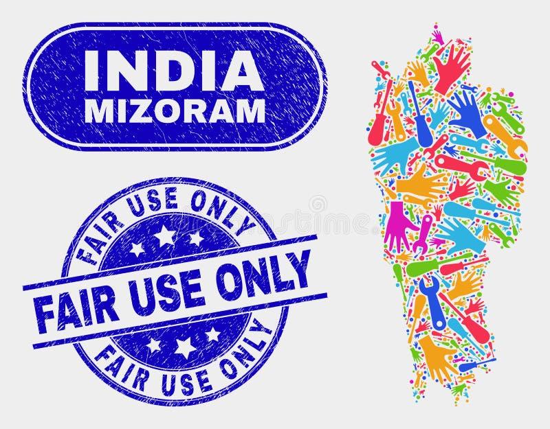 Den del- Mizoram tillståndsöversikten och att bedröva ganska bruk förseglar endast stock illustrationer