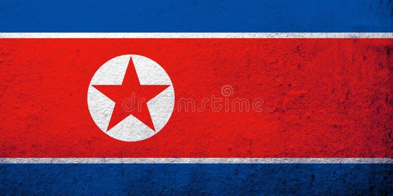 Den Demokratiska Folkrepubliken Korea Nordkorea nationsflaggan Kan användas som en vykort arkivfoto