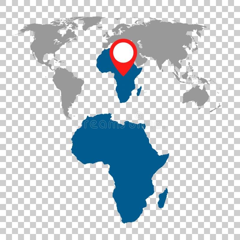 Den detaljerade översikten av Afrika och världskartanavigering ställde in Plan vektor vektor illustrationer