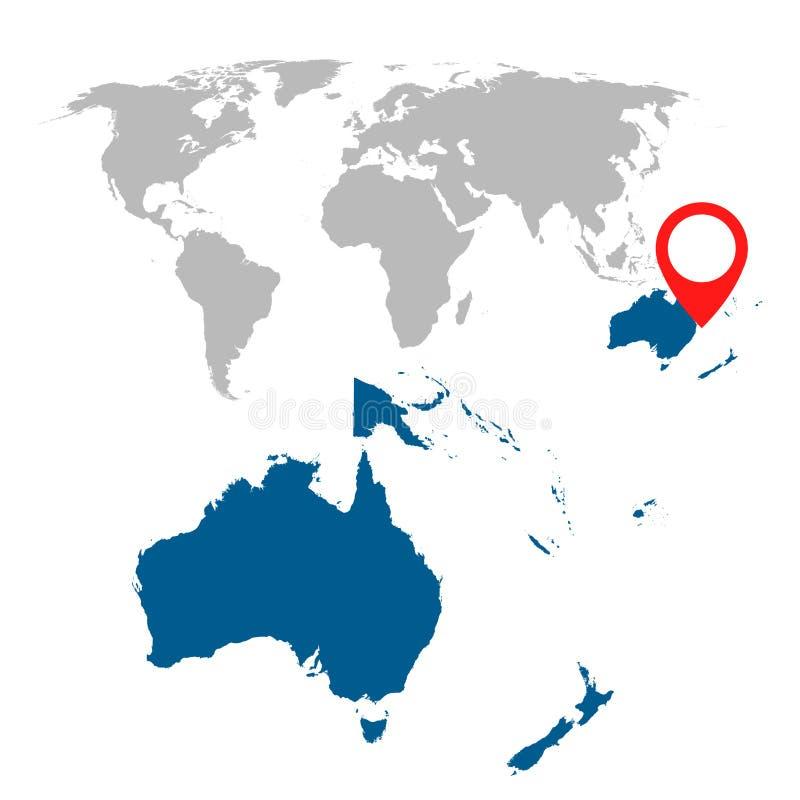 Den detaljerade översikten av Australien, Oceanien och världskartanavigering ställde in stock illustrationer