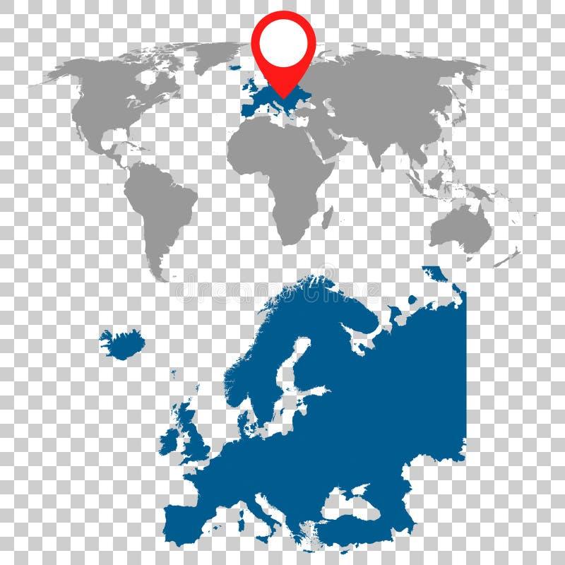 Den detaljerade översikten av Europa och världskartanavigering ställde in Plan vektor vektor illustrationer