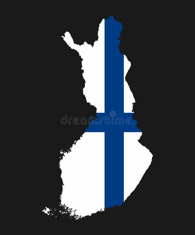 Den detaljerade översikten av Finland med nationsflaggan vektor illustrationer