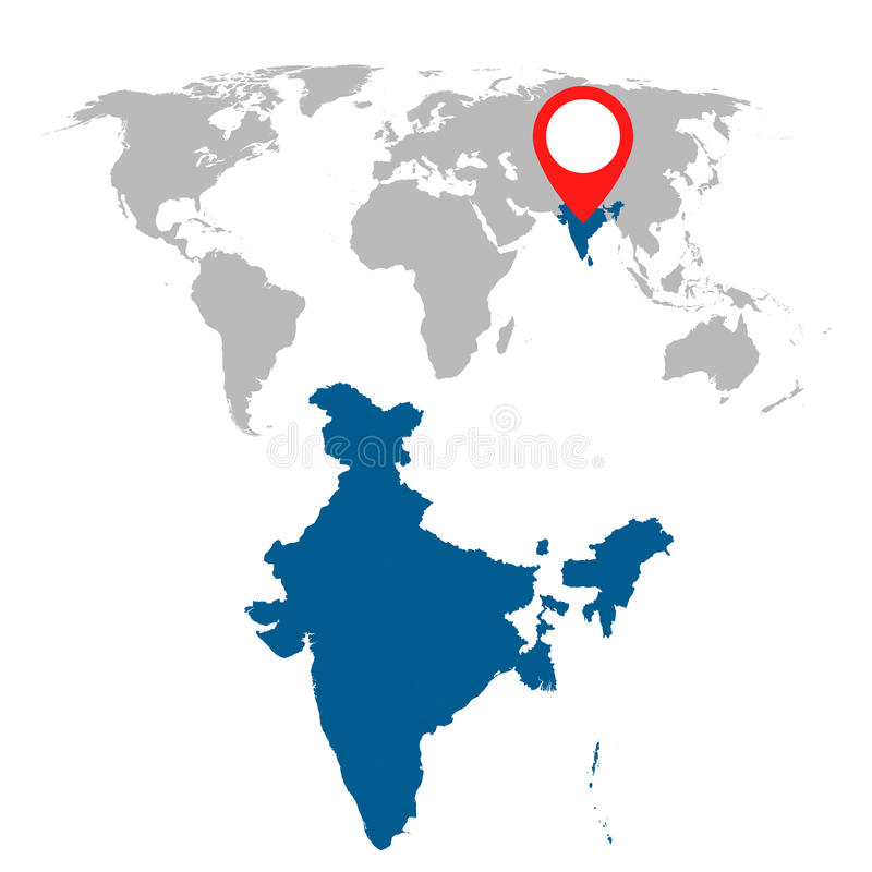Den detaljerade översikten av Indien och världskartanavigering ställde in Plan vektor royaltyfri illustrationer