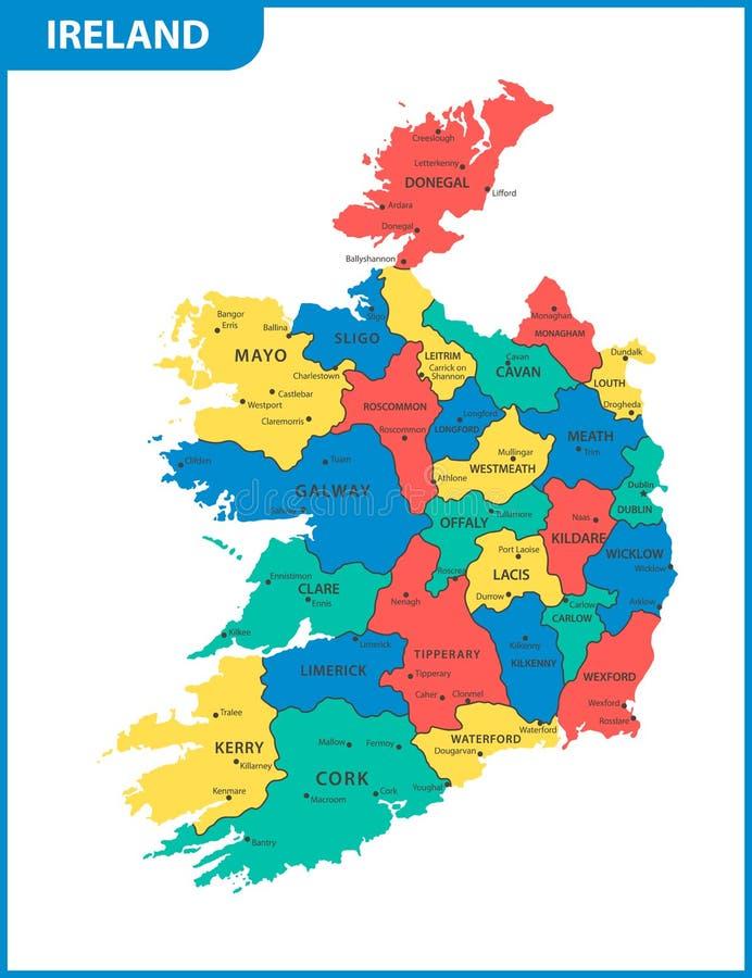 Den detaljerade översikten av Irland med regioner eller tillstånd och städer, huvudstäder vektor illustrationer