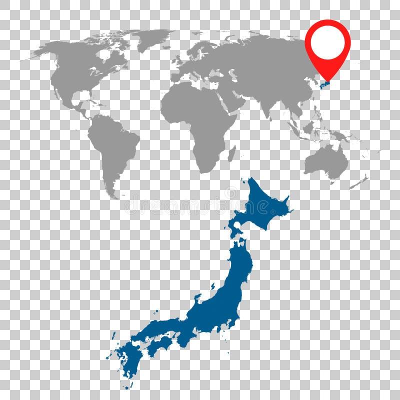 Den detaljerade översikten av Japan och världskartanavigering ställde in Plan vektor vektor illustrationer