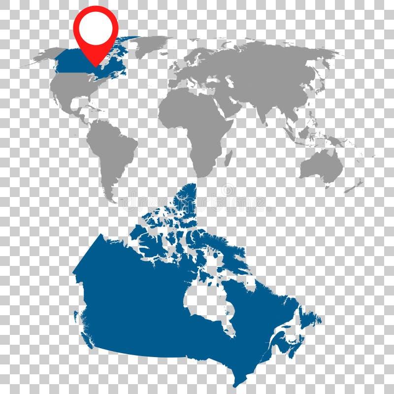 Den detaljerade översikten av Kanada och världskartanavigering ställde in Plan vektor vektor illustrationer