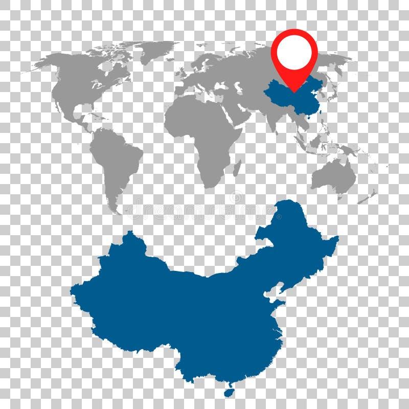 Den detaljerade översikten av Kina och världskartanavigering ställde in Plan vektor vektor illustrationer