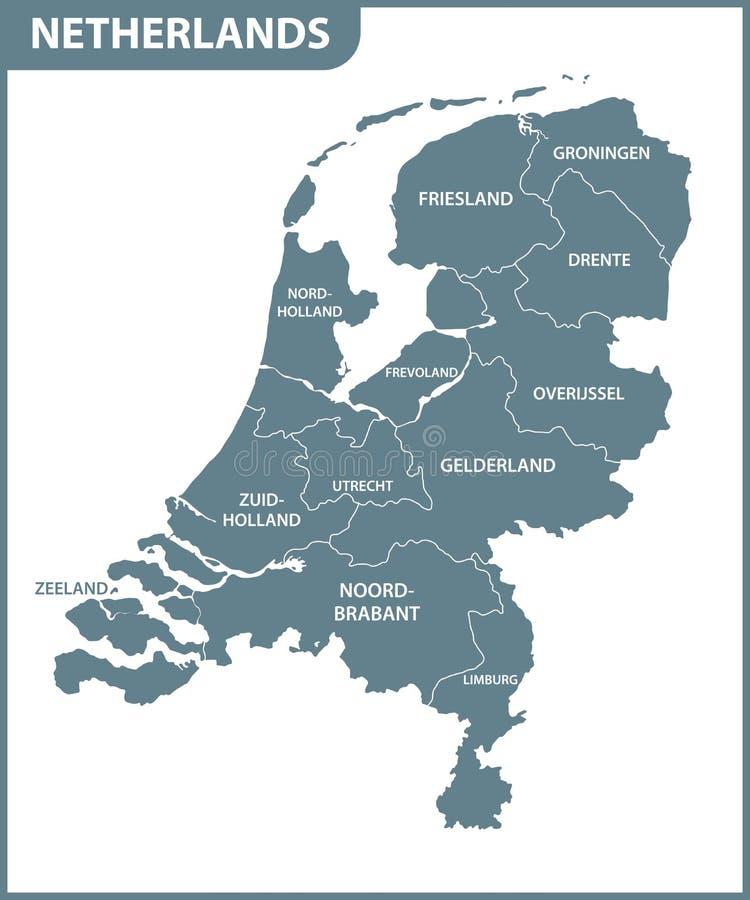 Den detaljerade översikten av Nederländerna med regioner Administrativ uppdelning stock illustrationer