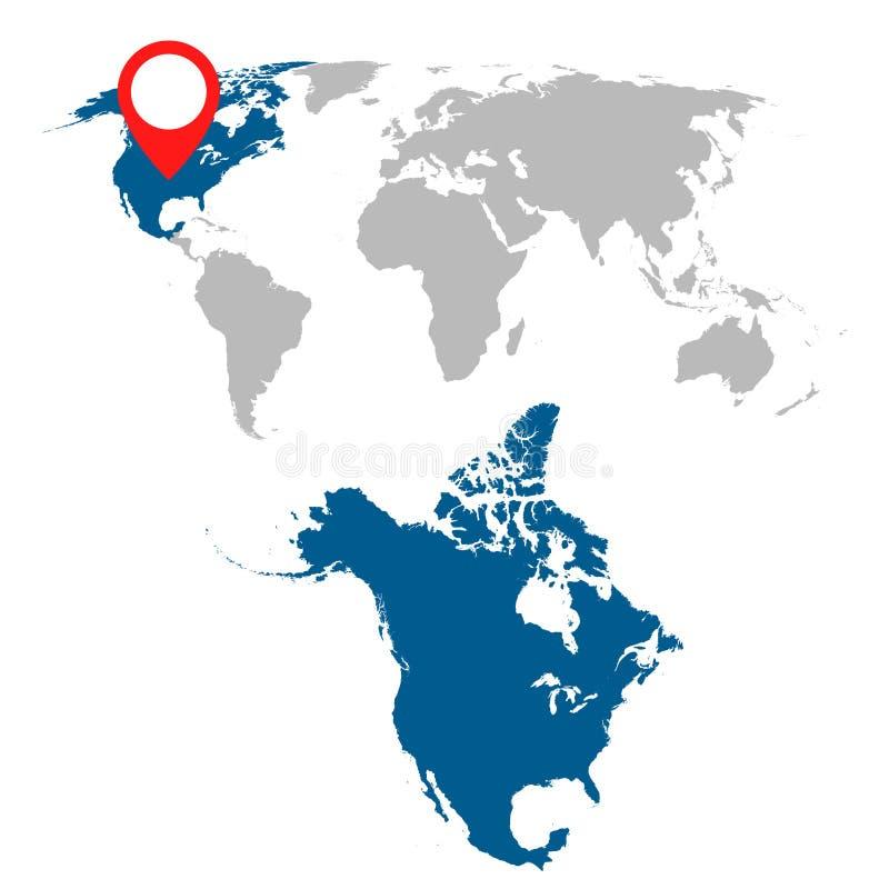 Den detaljerade översikten av Nordamerika och världskartanavigering ställde in plant royaltyfri illustrationer
