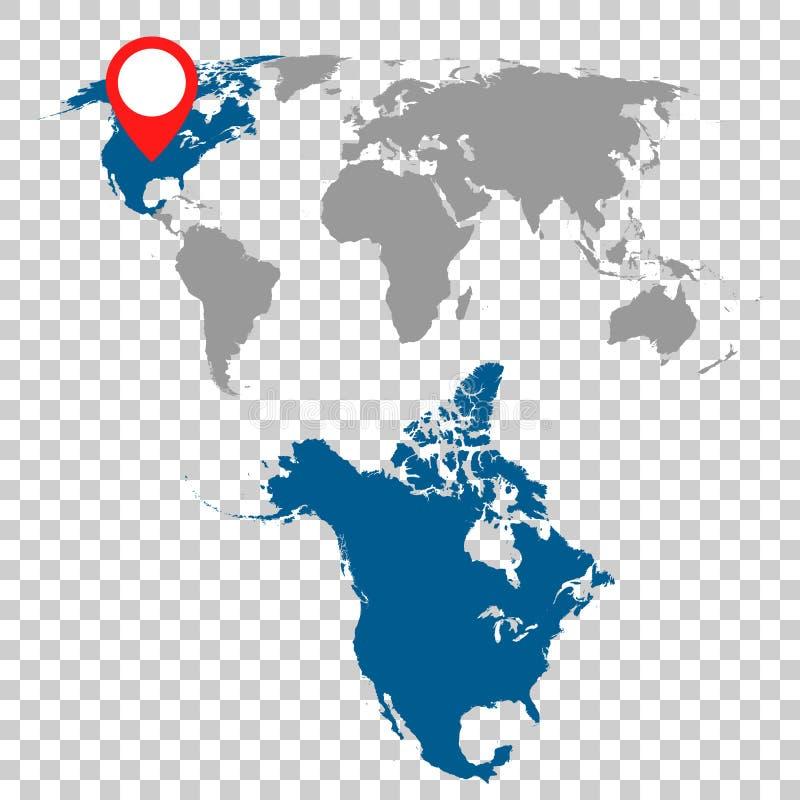 Den detaljerade översikten av Nordamerika och världskartanavigering ställde in plant stock illustrationer