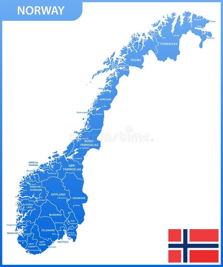 Den detaljerade översikten av Norge med regioner eller tillstånd och städer, huvudstäder, nationsflagga stock illustrationer