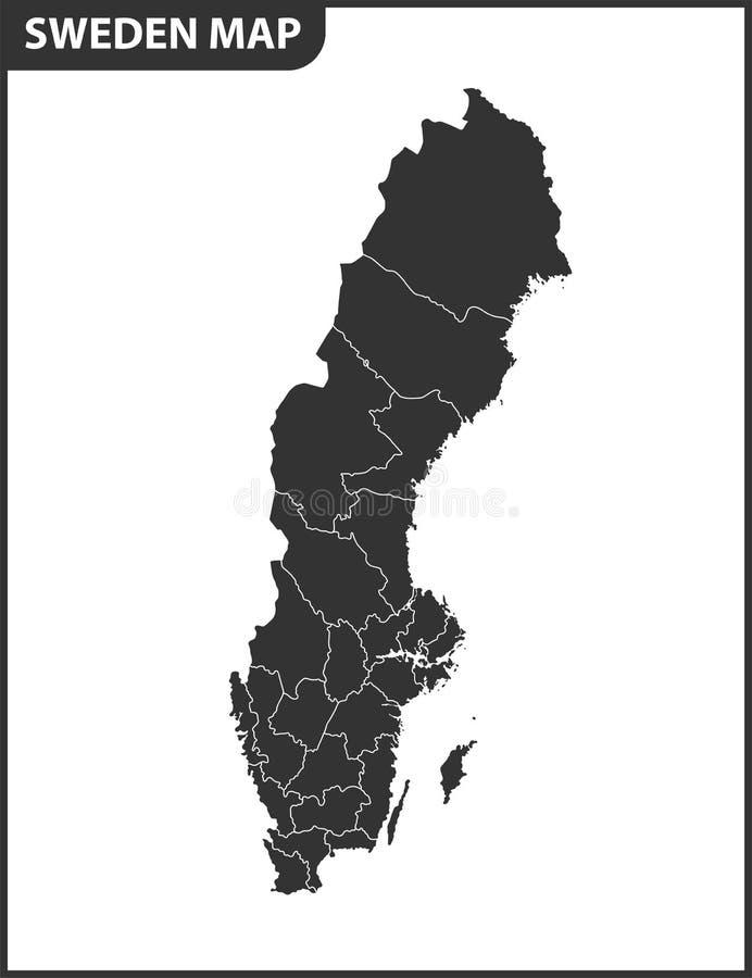 Den detaljerade översikten av Sverige med regioner eller tillstånd Administrativ uppdelning stock illustrationer