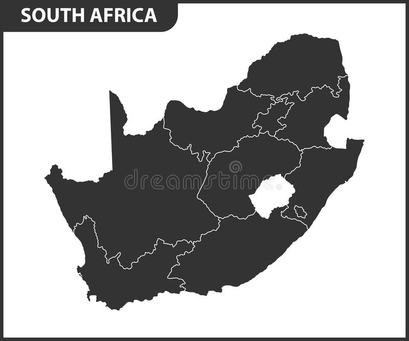 Den detaljerade översikten av Sydafrika med regioner eller tillstånd Administrativ uppdelning stock illustrationer