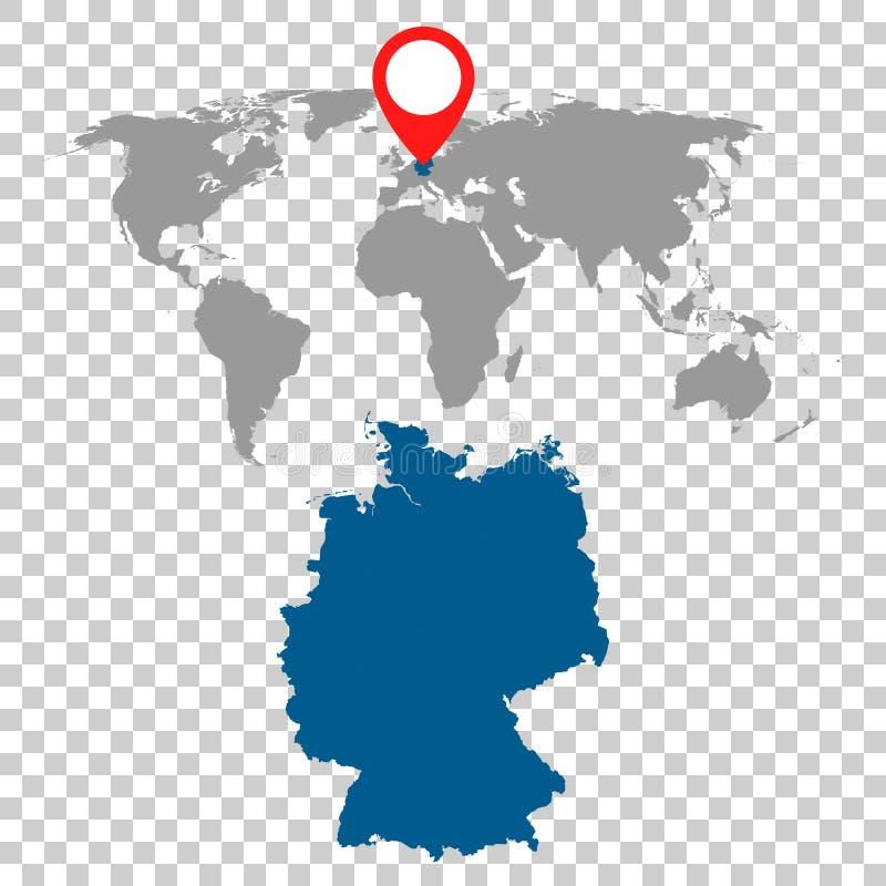 Den detaljerade översikten av Tyskland- och världskartanavigering ställde in Plan vecto royaltyfri illustrationer