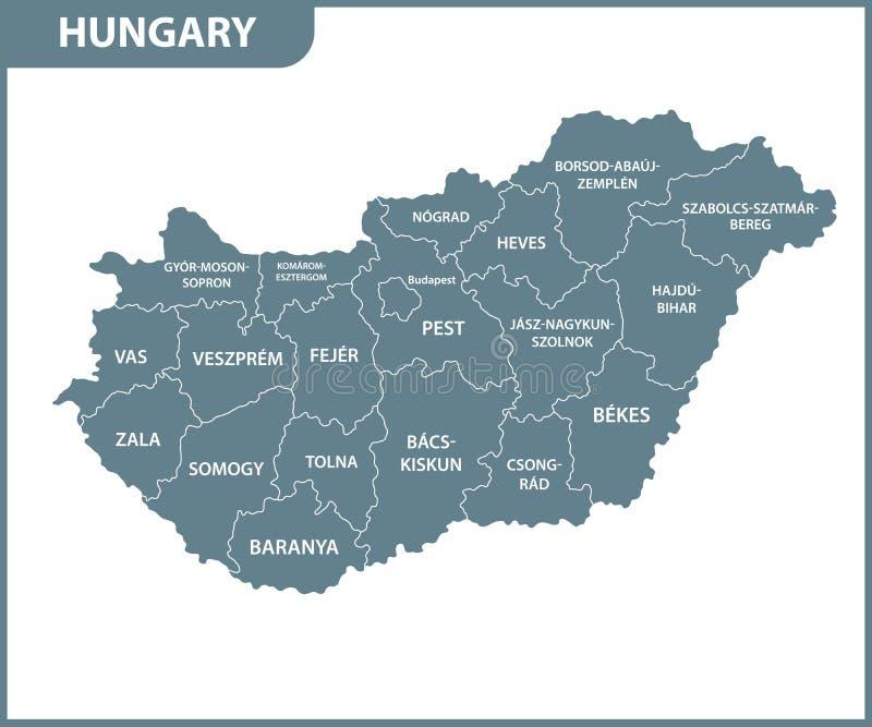 Den detaljerade översikten av Ungern med regioner eller tillstånd Administrativ uppdelning stock illustrationer
