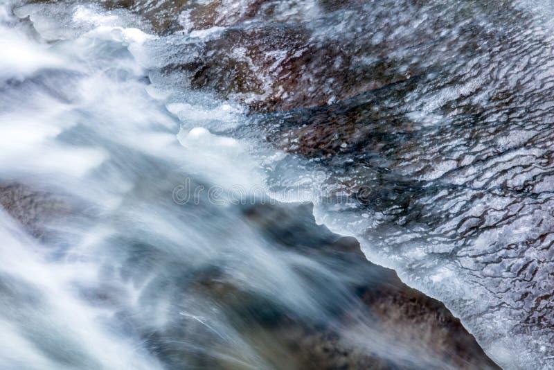 Den detaljerade blicken på vatten kör under is royaltyfri bild