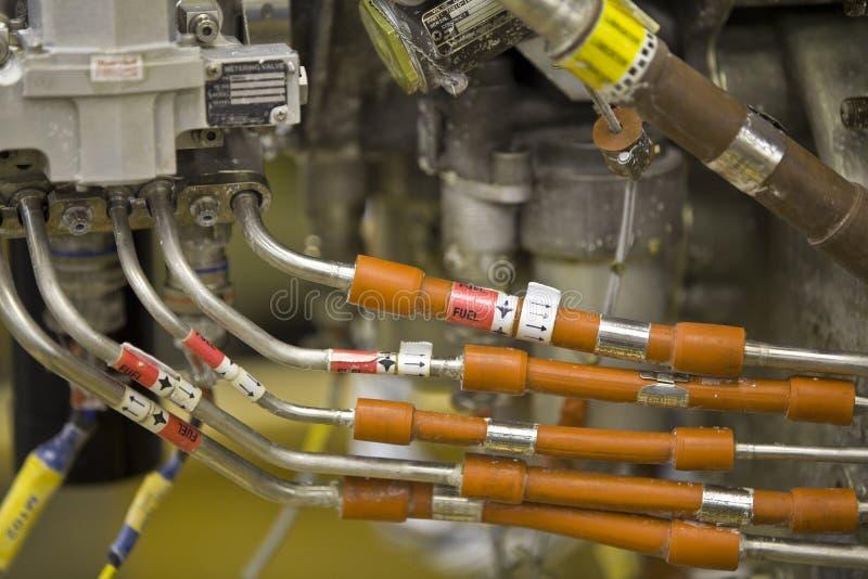 den detaljerade motorexponeringsstrålen parts turbinen royaltyfri bild