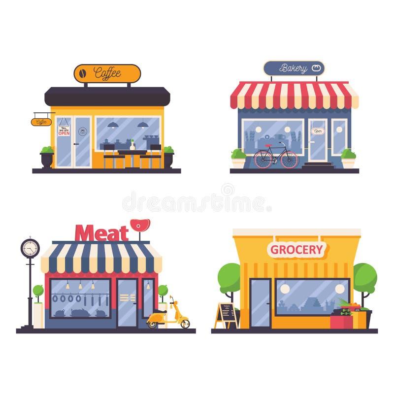 Den detaljerade skyltfönstret för livsmedelsbutik och kött shoppar, bagerit, kaffekafé Vektorfasadillustration för lokalt affär o royaltyfri illustrationer