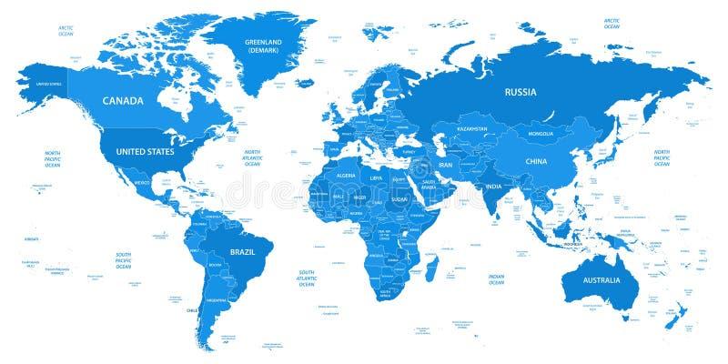 Den detaljerade världskartan med gränser, länder, vatten anmärker royaltyfri illustrationer