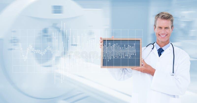 Den Digital frambragda bilden av den manliga doktorsvisningen kritiserar med puls- och MRI-bildläsningsmaskinen i bakgrund royaltyfri illustrationer