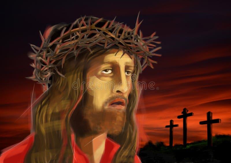 Den Digital illustrationen av Jesus Christâ €™s vänder mot, på rödaktig solnedgång royaltyfri illustrationer