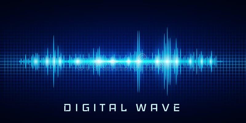 Den Digital vågen, svängande glöd för solida vågor tänder, abstrakt teknologibakgrund - vektor vektor illustrationer