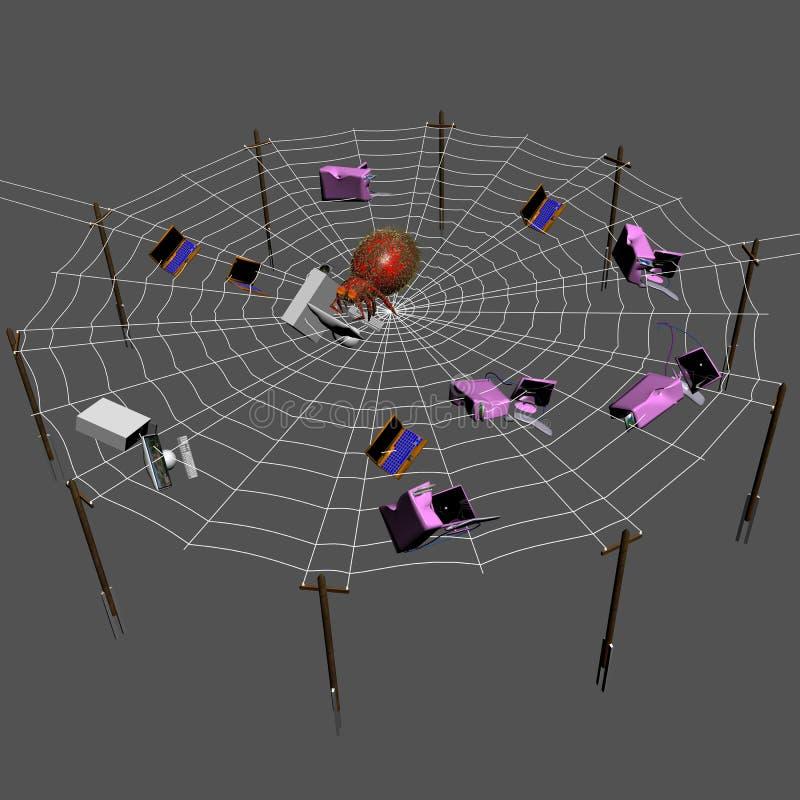 Den digitala spindeln som äter datorer. royaltyfri illustrationer
