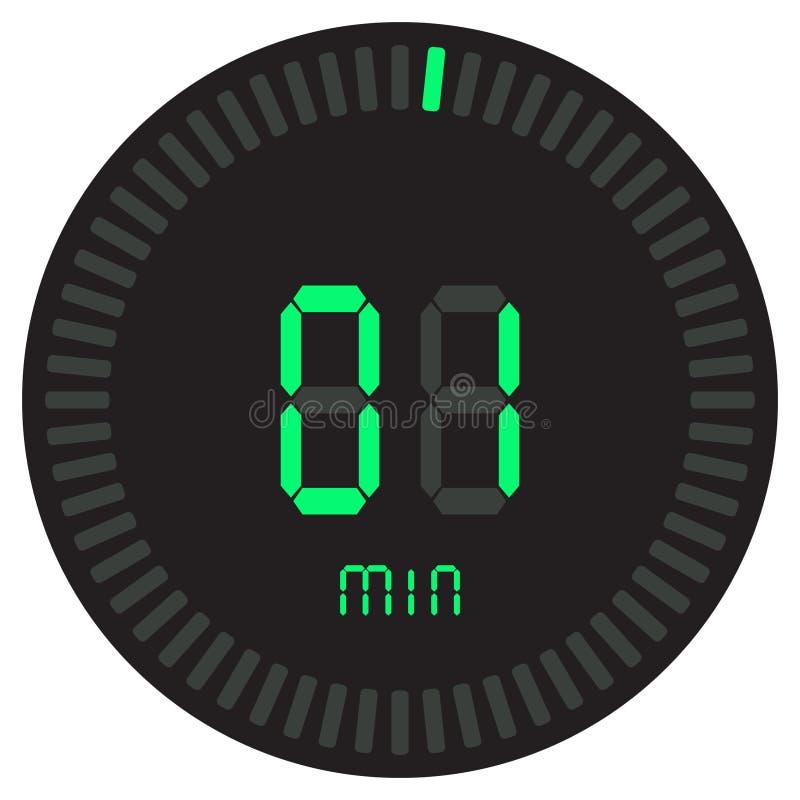 Den digitala tidmätaren 1 minut elektronisk stoppur med symbol för vektor för lutningvisartavla en startande, klocka och klocka,  royaltyfri illustrationer