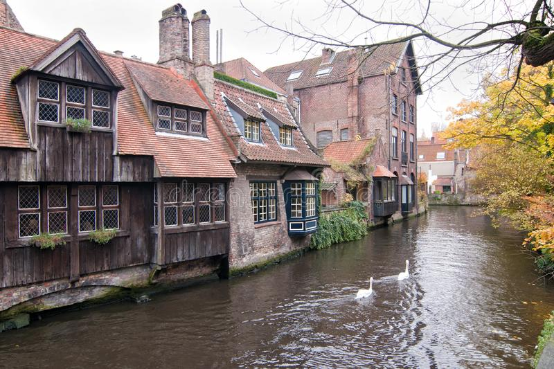 Den Dijver Canal from the St. Bonifacius bridge in historic center of Bruges, Belgium. View of Den Dijver Canal from the St. Bonifacius bridge in historic center royalty free stock photography