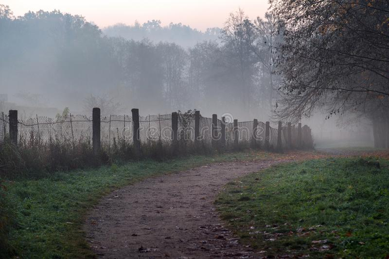 Den dimmiga banan i parkerar på tidig dimmig höstmorgon Gammalt staket, arkivfoton
